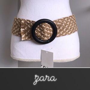 Zara Tan Jute Woven Belt NWT